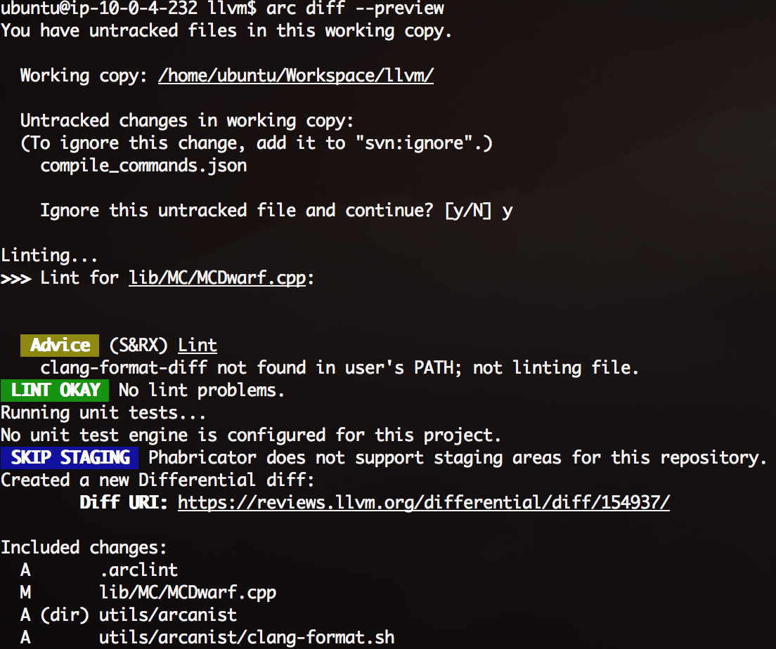 ⚙ D49116 Setup clang-format as an Arcanist linter
